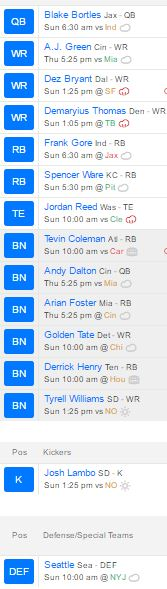 2016 Fantasy Football Roster